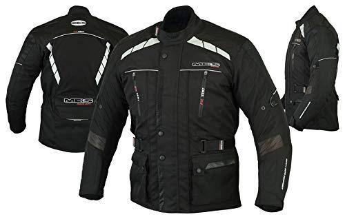 MBS MJ21 James Motocicleta Motocicleta larga chaqueta de viaje textil (Negro, 2XL)