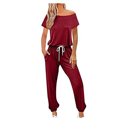 Pistaz Conjunto de ropa de deporte para mujer, largo y elástico en las piernas, pantalón y pantalón para el gimnasio Vino M