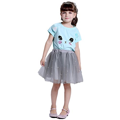 Filles Vêtements, Morbuy Filles Enfants Mignon Chat T-shirt + Dimensionnel Perlé Fil Jupe Enfants Robe Princesse Robes De Fête Mode Filles Robes Pour Fête Mariage Pageant (100, Bleu gris)