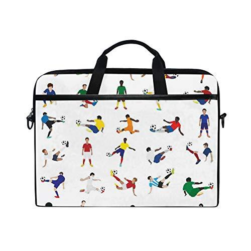 NR 15-15.4 Zoll Laptop Tasche Notebook Handtasche Umhängetasche Aktentasche,Sammlung Fußball-Spieler-Liga-Zeitvertreib, der unterschiedliches Haltungs-Training übt