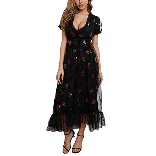 Hailouhai Vestido de encaje sexy para mujer, vestido de lentejuelas de fresa de manga larga con cordón plisado sexy flaco corto vestido de fiesta, Manga corta, negro, L