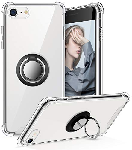 ACALANTHA Ring Holder Series Designed for iPhone SE 2020 Case, iPhone 7 8 Case Clear Protective Cover Work with Magnetic Car Phone Mount (Clear)
