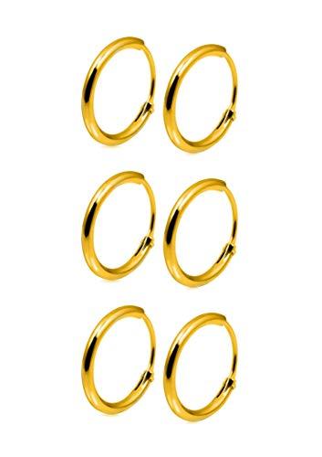 Spuzzy Lot de 3 paires de boucles d'oreilles créoles en argent sterling, taille 10 mm, en argent, or et or rose, emballées dans une jolie pochette en velours.