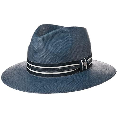 Lierys Sombrero Panamá Parletto Stripes Hombre - Made in Ecuador de Verano Paja Sol con Banda Grosgrain, Grosgrain Primavera/Verano - M (57-58 cm) Azul Oscuro