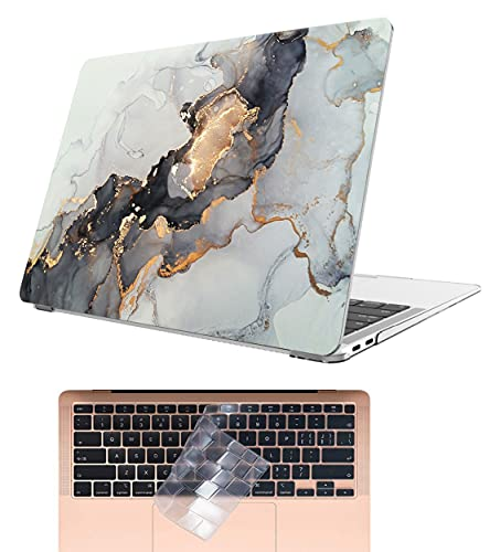 AOGGY Schutzhülle für MacBook Air 13 Zoll 2020 2019 2018 Version A2337 M1/A2179/A1932, bunt, Kunststoffhülle mit Tastaturabdeckung für 2020 MacBook Air 13 mit Touch ID – Gold Schwarz
