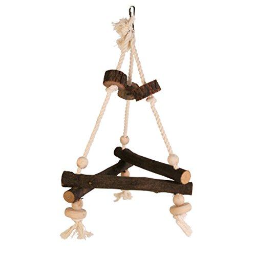 Pet Ting Vogelschaukel aus Naturholz, dreieckig, für Nymphensittiche, Vogelsitze, Seil, 27 x 27 x 27 cm
