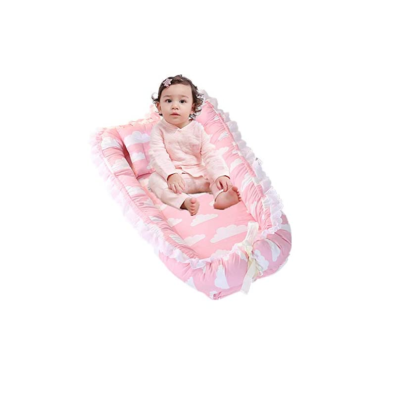 crib bedding and baby bedding abreeze ruffled baby bassinet for bed -deep pink lounger - breathable & hypoallergenic co-sleeping baby bed - 100% cotton portable crib for bedroom/travel