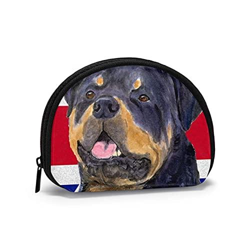Bandera británica Rottweiler lindo perro encanto impreso cambio temático lindo Shell bolsa de almacenamiento chica carteras Bule monederos clave bolsa Gifys mujer novedad