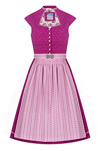 Edelheiss Midi Dirndl 65 cm Beere rosa Gemustert Toni 007358, Bedruckt mit Streumuster aus kleinen Blümchen, Schlüsselloch-Ausschnitt mit rosafarbener Rankenstickerei und Kordelborte 36