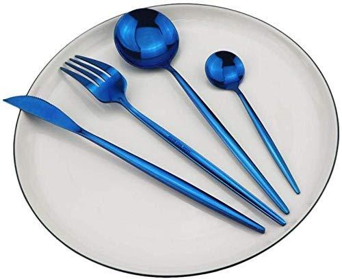 CEXTT Conjunto de vajillas de Cubiertos de vajilla, Azul 18/10 Set de Cena de Acero Inoxidable Cuchillo Tenedor Spoon Party Silverware Set, Conjunto de 4pcs (Color: 4pcs Establecido)