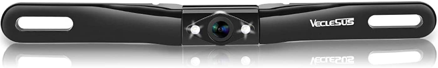 VECLESUS License Plate Backup Camera with 149° Golden Viewing Angle, 2 LED Starlight Night Vision, IP68 Waterproof, Universal Iron Material Backup Camera for Cars, Cargo Vans, Pickup Trucks.
