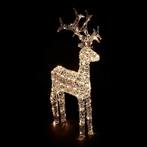 60cm Tall Acrylic Outdoor Christmas Reindeer Lit with 50 Warm White LEDs