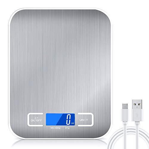 Raniaco Küchenwaage Digital, Digitalwaage mit 2 In 1 – USB- Oder Akkubetrieb- ml/Milch ml/kg/g/Oz/LB/ - wunderbare Präzision auf bis zu 1g - Waage Küchen