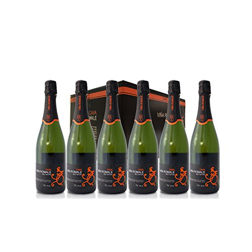 VIÑA ROMALE – Caja Regalo de 6 botellas de Viña Romale Cava Brut Nature Extremeño de Almendralejo (D.O CAVA). Caja de 6 botellas de 75 cl. 100% ARTESANAL