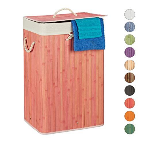 Relaxdays, rosa Wäschekorb Bambus, mit Deckel, rechteckig, XL, 83 L, Faltbarer Wäschesammler, HBT:...