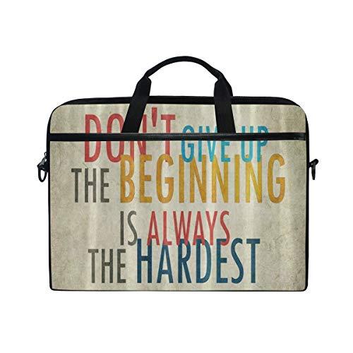 LOSNINA Laptop Tasche 15-15.4 Zoll,Old Grunge Vintage Nicht aufgeben Zitat Muster,Neue Leinwand Drucken Muster Aktentasche Laptop Schulter Messenger Handtasche Case Sleeve