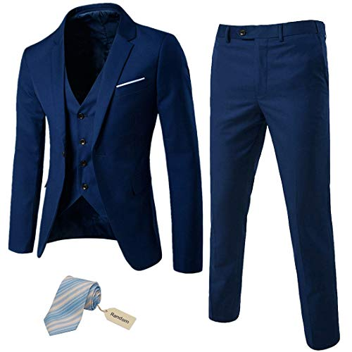MY'S Men?s 3 Piece Slim Fit Suit Set, One Button Blazer Jacket Vest Pants with Tie, Solid Party Wedding Dress, Tux Waistcoat and Trousers, Deep Blue, M, 5'9-6'1, 160-175lbs