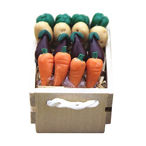 SM SunniMix Verduras con Caja de Madera Decoración de Jardín de Patio de Cocina en Miniatura para Casa de Muñecas 1/6 1/12 Decoración de Escenas de Vida DIY