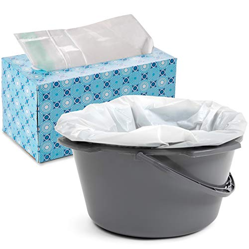 Bedside Commode Liners Disposable Bulk 50 Pack - Elderly, Sick Patients, Adult Health - Comode Liner Bags for Portable Toilet, Bedpan Bowl, Potty Chair Liners Plastic Camode -Leak-Proof, Biodegradable