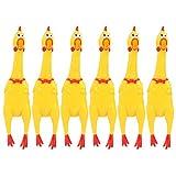 Winthai 6PCS Goma Gritando Pollo Juguete Amarillo Chiringuito de Pollo Juguete con Colores Vibrantes Novedad Divertido Duradero Estridente Herramienta de Descompresión Gadget Suave Diversión Sonido