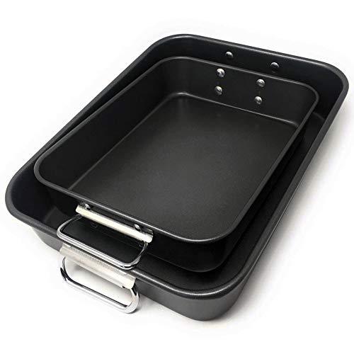 LS Kitchen - Set di 2 Teglie da Forno con Rivestimento Antiaderente - Lasagnera - Rostiera Rettangolare in Acciaio al Carbonio - Manici Pieghevoli