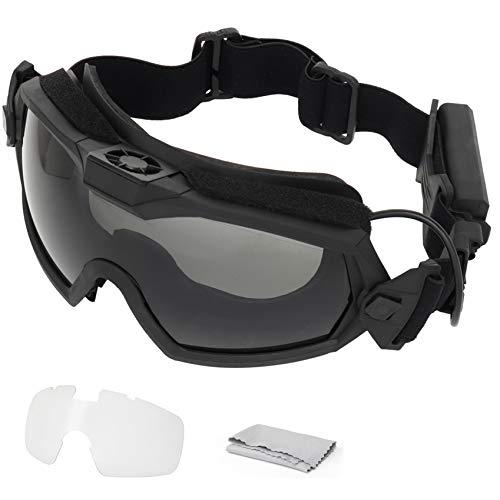 SGOYH Fan Version Cooler Tactical Airsoft Paintball Gafas Regulador Gafas Protectoras para Snowboard Esquí Caza Tiro Bicicleta Deportes (Negro)