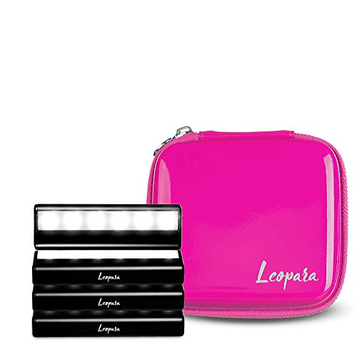 Leopara Makeup Lighting System - Portable Vanity Lights - Professional Lighting for Any Mirror - Travel Friendly & Rechargeable - Electric Pink - Perfect Valentine's Day Gift