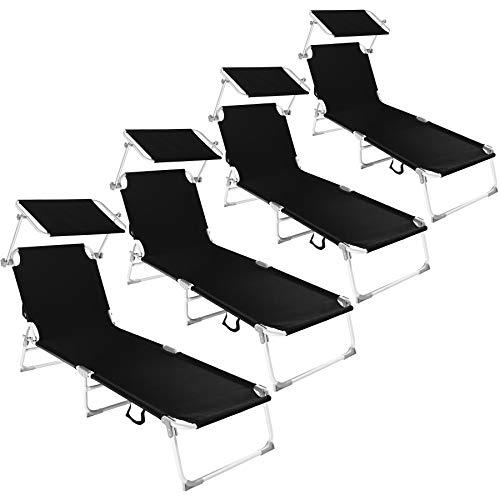 TecTake 800252 Ensemble de 4 Chaise Lounge en Aluminium, Pare-Soleil réglable en continu, Résiste aux intempéries - Diverses Couleurs au Choix (Noir | No. 401550)