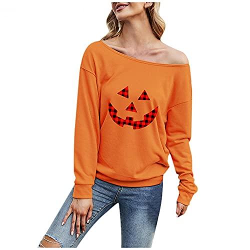 SHOBDW Baratas Camisa de Manga Larga Mujer Impresión Tops Básico Camiseta Calor Pullover Otoño Ropa de Deporte Suelto Tops Tallas Grandes(Naranja,S)