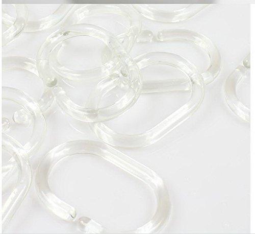 Lot de 12 anneaux de rideau de douche polyester durable étanche Transparent Anneaux