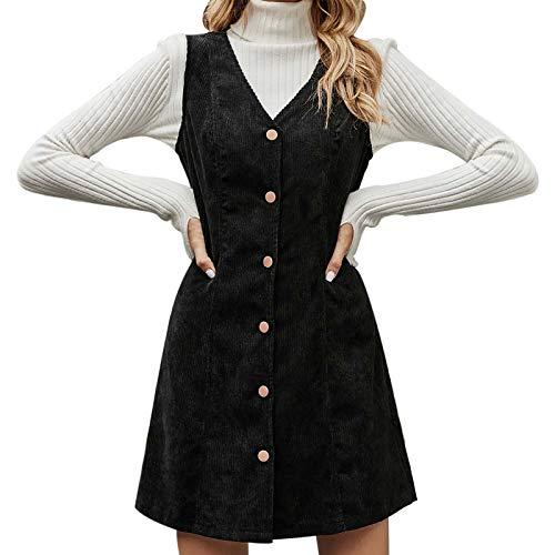 Deklong Damen Kleider Elegant Frauen Mode Kleid Kleidung Herbst und Winter Temperament V-Ausschnitt Cord ärmelloses Kleid
