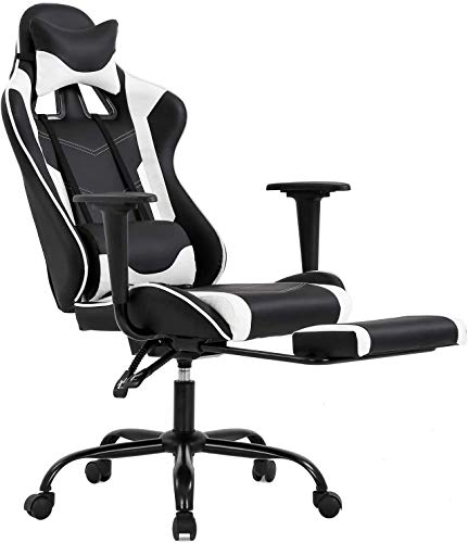 Office Chair PC Gaming Chair with Footrest Ergonomic Desk Chair Executive PU Leather Computer Chair Lumbar Support Modern Task Rolling Swivel Racing Chair 7