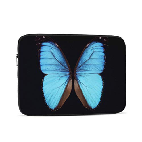 Macbook 13 Inch Case Close Up of A Single Blue Butterfly On Black Accessories For Macbook Pro Multi-Color & Size Choices10/12/13/15/17 Inch Computer Tablet Briefcase Carrying Bag