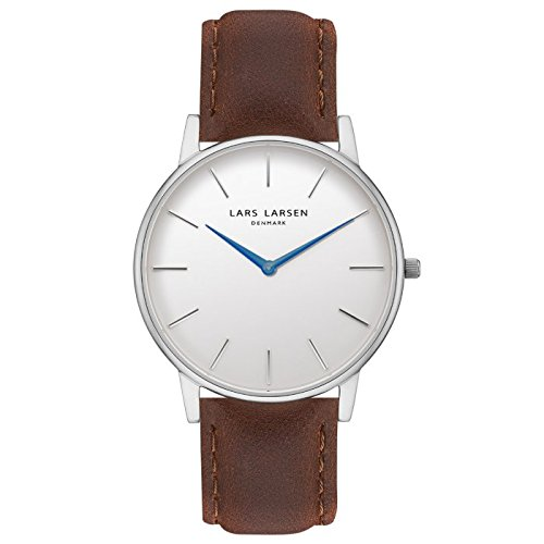 LARS LARSEN Reloj Oliver de acero inoxidable con esfera blanca de 39 mm.