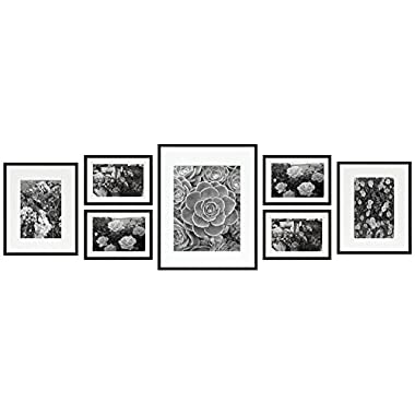 Frametory, Gallery Wall Frame Collection,Set of 7,Black Photo Frame with Ivory Color Mat & Real Glass