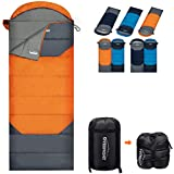 Overmont Upgraded Thickened Camping Sleeping Bag- 3-4 Season Warm Cool Weather Envelope Lightweight Waterproof Portable - Perfect for Adults Kids Indoor Outdoor Use Hiking,Backpacking&Camping