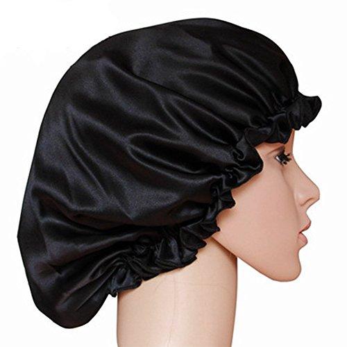 Bonnet de nuit Q.KIM en soie 100 % naturelle - Coiffe pour dormir, Soie, noir, Taille M