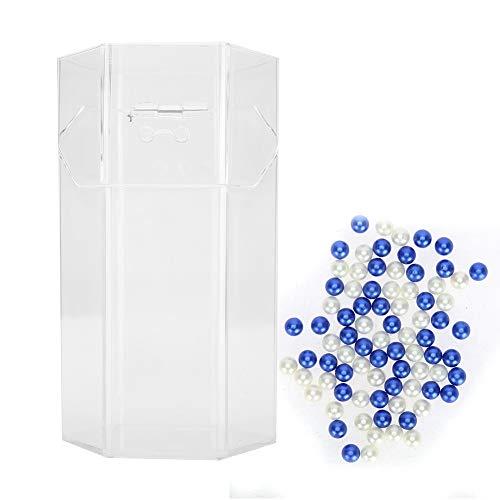 Ruiqas Boîte de Brosse en Plastique Support de Maquillage de Boîte de Rangement de Brosse à Ongles Cosmétique Anti-Poussière avec Couvercle Et Perles (Brosse Non Incluse)