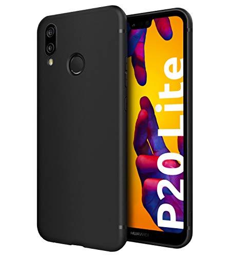 Funda resistentes Slim-Case para Huawei P20 Lite [smart engineered] - Carcasa protectora de silicona - Estera, Negro, Resistente a los arañazos