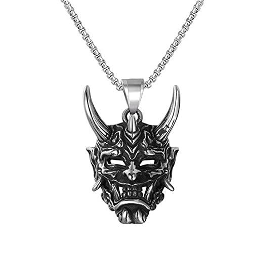 LRKZ Collar de máscara Hannya, joyería Japonesa, joyería gótica para Hombre, Acero Inoxidable, Plata, Negro, Cuerno Malvado, Collar con Colgante de Calavera, Collar de Diablo Fresco