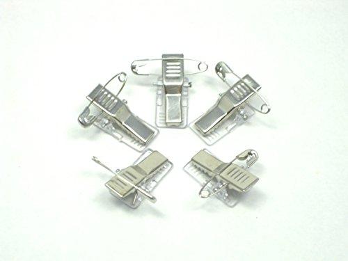 名札 バッジ 用 金属 ワニ口 クリップ 留め具 安全 ピン 付き 両用 タイプ (100個)