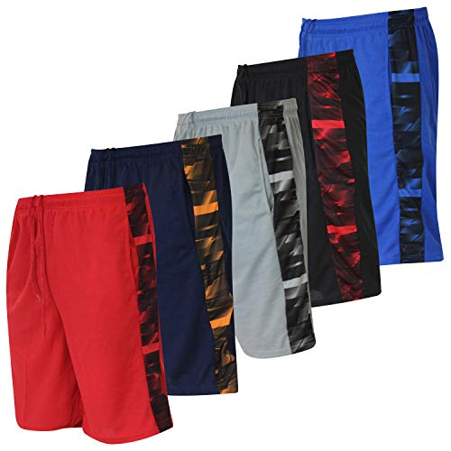 5 Pack: Big Boys Youth Clothing Knit Mesh Active Athletic Performance Basketball Soccer Lacrosse Tennis Exercise Summer Gym Golf Running Teen Shorts -Set 4- XL (16/18)