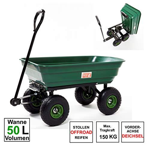 Izzy Bollerwagen kippbar Gartenwagen Handwagen Gartenkarre Transportwagen Handkarren Luftreifen (50 L)