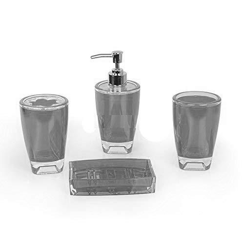 Fingey - Juego de accesorios de baño (4 piezas, jabonera,