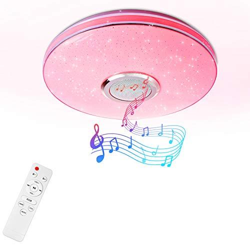 osmanthus RGB Bluetooth Deckenleuchte Musik Lautsprecher, 36W LED Runde Moderne Lampe mit Fernbedienung und APP Steuerung, Sternenhimmel, 2800LM, dimmbar, 29,5 x 29,5 x 5,5cm [Energieklasse A++]
