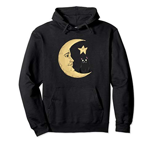Vintage Halloween Beistle Cat on the Moon Horror Gift Pullover Hoodie