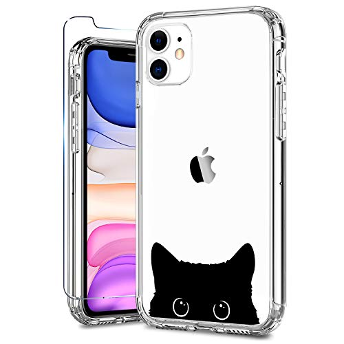 ZADORN iPhone 11 Case with Screen Protector,Clear with Cute Designs for Girls Women,15ft Drop Tested Protective Phone Case for iPhone 11 6.1 inch 2019 Black Cat
