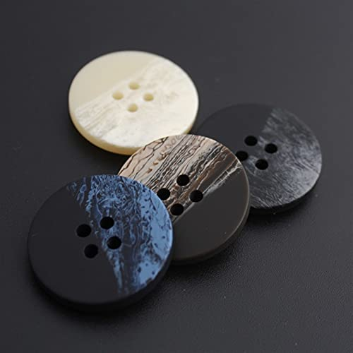 WHBGKJ Botones 10 unids Botones Retro de Resina Redondos 4 Hoyos Botones Blancos y Negros para Ropa de Vestir Abrigo Accesorios de Costura 15mm-30mm (Color : A, Size : S 15MM)