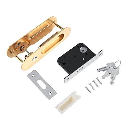 Riuty Cerradura de Puerta corredera, manija de Cerradura de Puerta antirrobo con Llaves para herrajes de Muebles de Madera de Granero(Oro)
