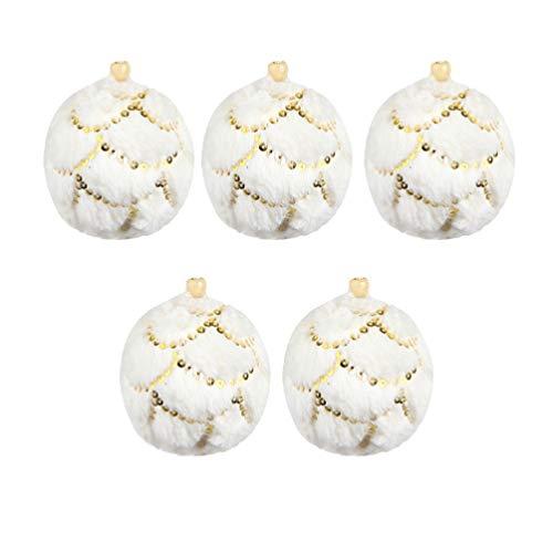 GARNECK 5 Pezzi di Palline di Schiuma di Natale Palline di Peluche Bianche Decorate con Sfere di Ornamento per Albero di Natale